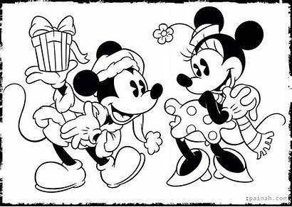 Mickey Coloring Mouse Pages Minnie Christmas Kissing
