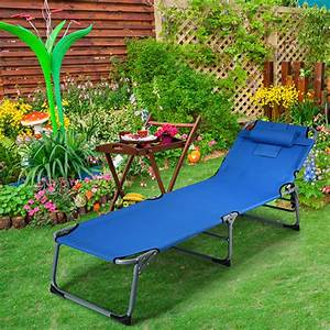 Foldable, Lounge, Chair, Beach, Adjustable, Folding, Recliner, With, Matching, Pillow, And, Sunbathing