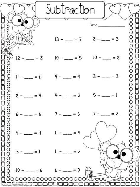 fill in the missing number subtraction ideas for the