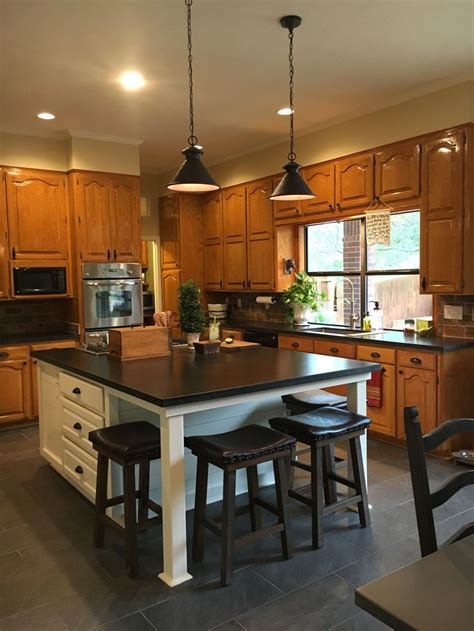 updated kitchen   white island original honey oak