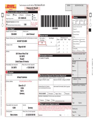 dhl shipment waybill form dhl international waybill online fill online printable