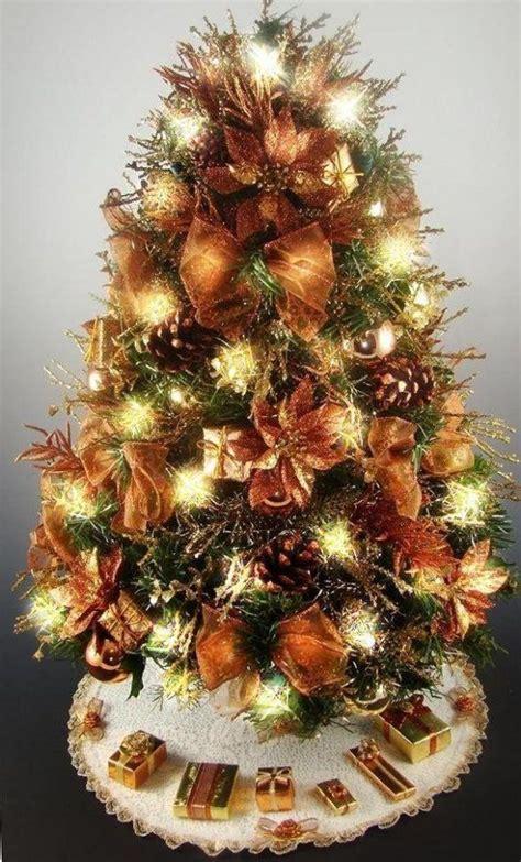 christmas trees decor bronze copper chocolate