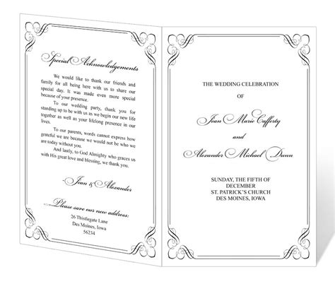 wedding program design templates