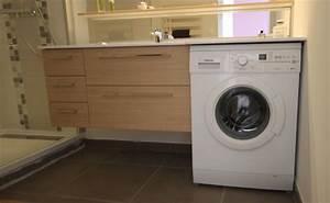 Plan De Toilette Bois : meuble de salle de bain sur mesure avec machine laver ~ Teatrodelosmanantiales.com Idées de Décoration