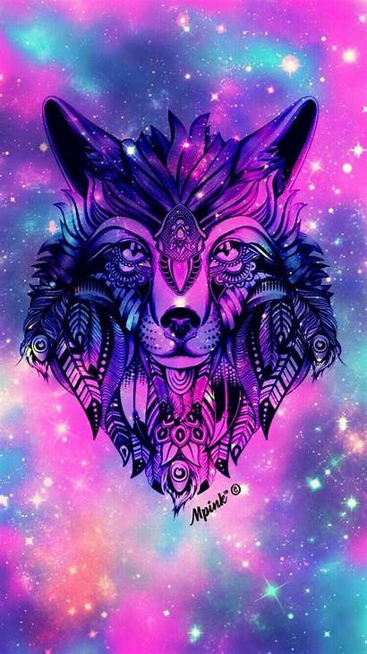 Wolf Galaxy Wallpapers Backgrounds Wolves Colorful Cool