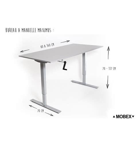hauteur de bureau de travail bureau réglable en hauteur par manivelle maximus de mobex