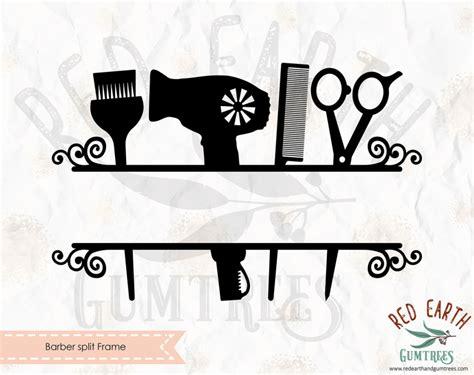 Cut files for cricut & silhouette. Barber, Barber split monogram frame, hairdresser split ...