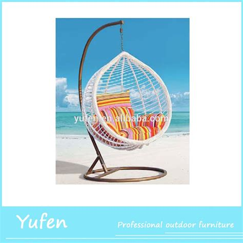 quality indoor rattan teardrop swing chair with stand