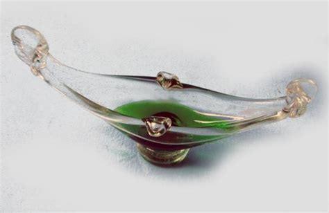 Glass Boat Ashtray by Murano Venetian Glass Gondola Boat Ashtray Dish Green Ebay