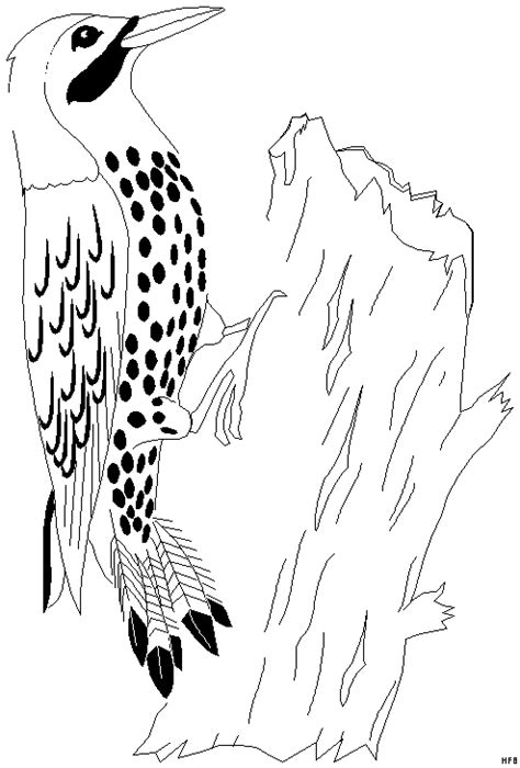 specht  baumstumpf ausmalbild malvorlage fruehling