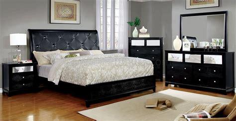 bryant ii cm bedroom set wblack leatherette mirror