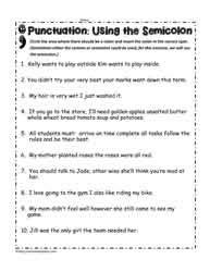 semicolon worksheets