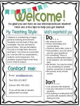 teacher welcome letter editable student intern welcome letter by mrs irvins toolbox