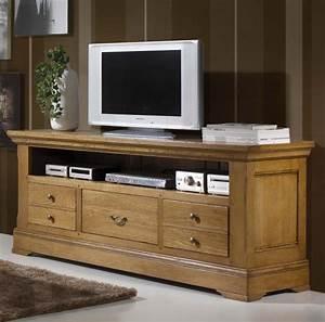 Meuble Tele Haut : meuble tv haut chene massif ~ Teatrodelosmanantiales.com Idées de Décoration