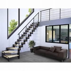 Marche Bois Escalier : escalier quart tournant structure acier marche bois lamell coll about leroy merlin ~ Voncanada.com Idées de Décoration