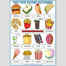 Fast Food Picture Dictionary Esl Printable Worksheet  English  Food Vocabulary, English