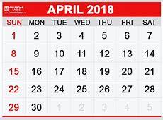 Printable April 2018 Calendar Calendar Table Calendar Table