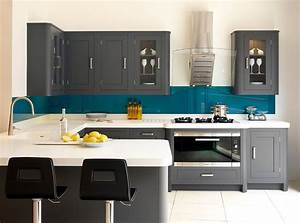 50 gorgeous gray kitchens that usher in trendy refinement for Kitchen colors with white cabinets with black and teal wall art