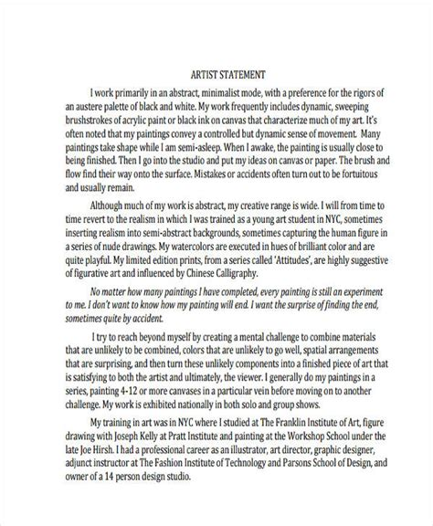 artist statement template 10 artist statement exles sles pdf