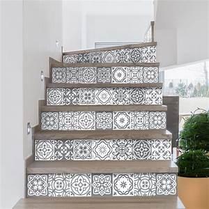 Escalier Carreaux De Ciment : stickers escalier carreaux de ciment berto x 2 ambiance ~ Dailycaller-alerts.com Idées de Décoration