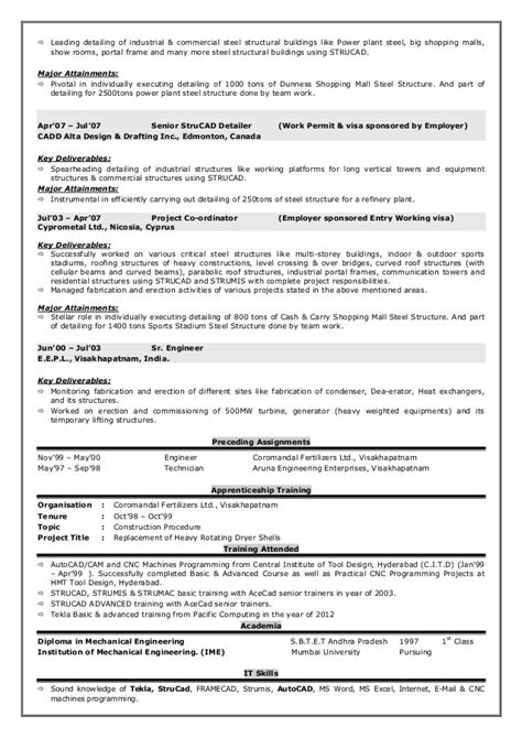 Steel Detailer Resume Sle by Resume