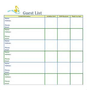 To Do List Template Excel 10 Guest List Templates Word Excel Pdf Formats