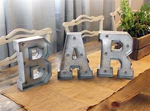 galvanized light up letter rental bar cedar and pine With galvanized light up letters