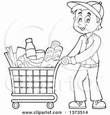 Shopping Cart Clipart Pushing Cartoon Groceries Illustration Visekart Royalty Vector Happy Clipground sketch template