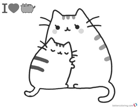 pusheen coloring pages mums hug  printable coloring