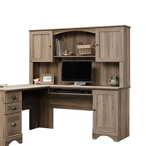 sauder harbor view computer desk with hutch salt oak sauder harbor view desk hutch salt oak by office depot