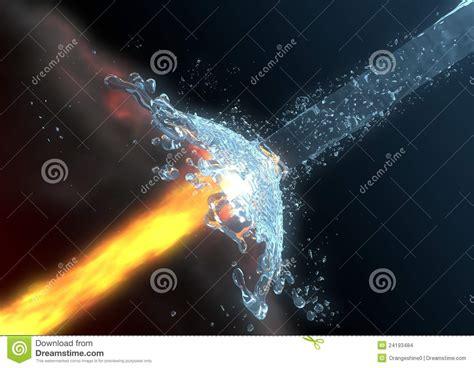 Fire Vs. Water Stock Photo. Image Of Render, Opposite