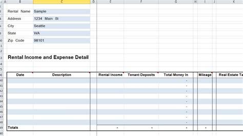 rental property spreadsheet four rentals organized