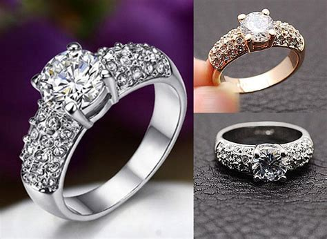 2019 wedding rings for jewelry swarovski crystal 18k gold plated ring cz diamond rings