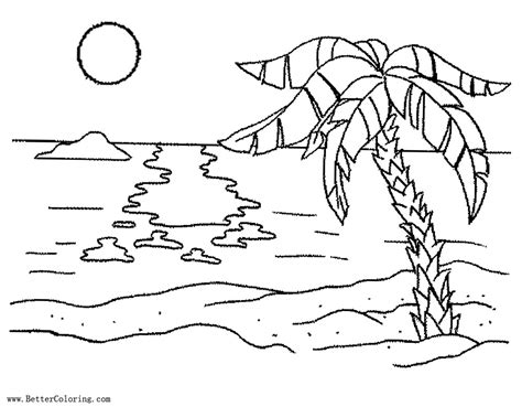 palm tree coloring pages  sunset  printable