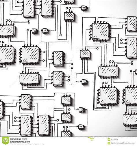Printed Circuit Board Hand Drawn Stock Vector Image