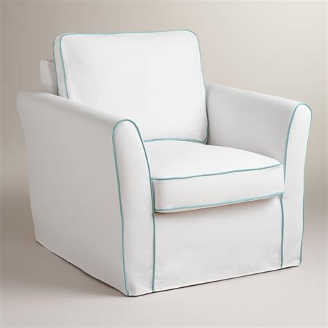 white chair slipcover white and blue luxe chair slipcover market