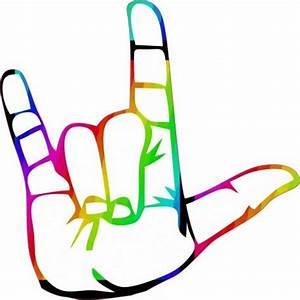 "5"" x 5"" Rainbow Sign Language I Love You Bumper Sticker ..."