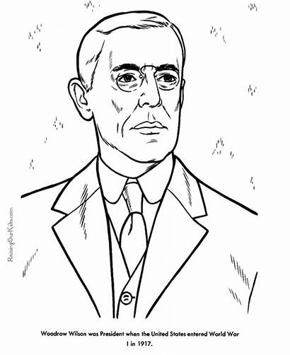 Wilson Woodrow Coloring Pages Presidents Obama President
