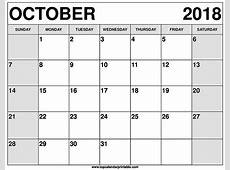 October 2018 Calendar