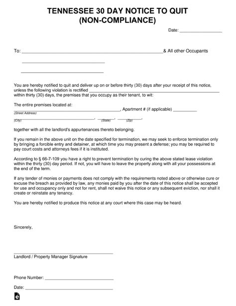 30 day notice to vacate ohio form tennessee 30 day notice to quit form non compliance