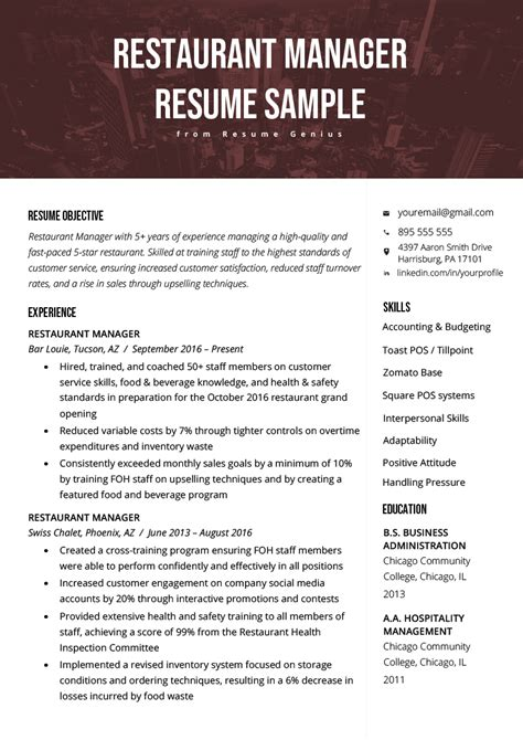restaurant manager resume sles ipasphoto