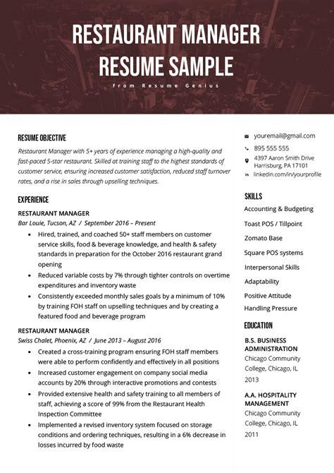 Exle Restaurant Resume by Restaurant Manager Resume Sle Tips Resume Genius