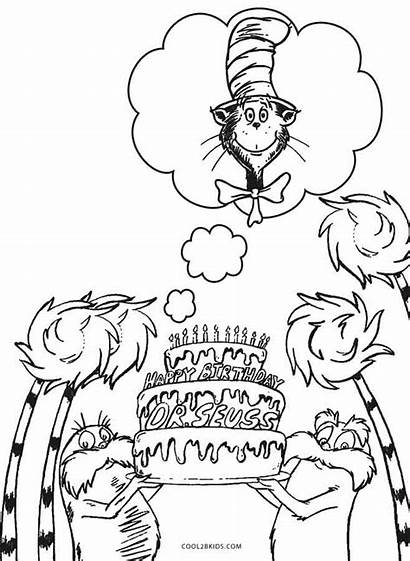 Seuss Coloring Dr Pages Birthday Printable Cool2bkids