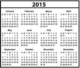 2015 Calendar with Holidays List