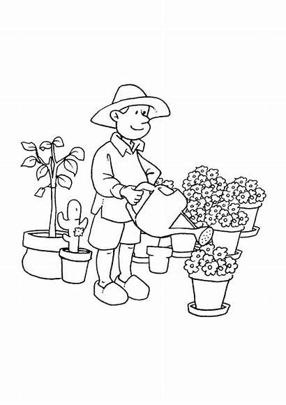 Jardinier Metiers Coloriage Shutterstock Coloriages