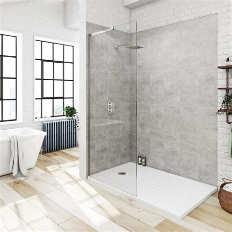Walk In Shower - mode 8mm walk in pack with tray 1400 x 900 victoriaplum