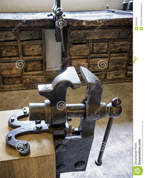 Old Bench Vise Stock Image Image Of Stability, Clamp