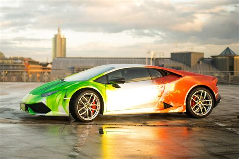 Lamborghini Huracan Wrapped In Tricolor Flames By Print