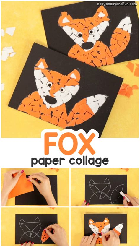 paper collage fox craft torn paper art ideas mosaic collage easy peasy  fun
