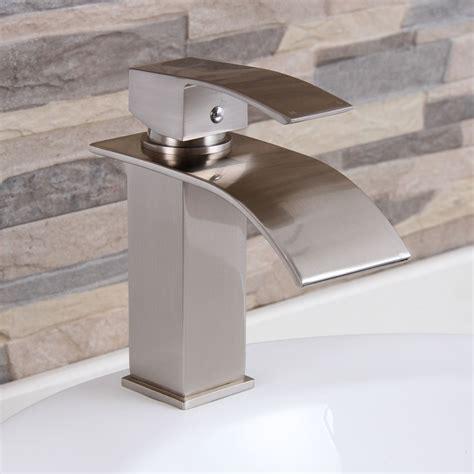 bathroom sinks and faucets ideas elite modern bathroom sink waterfall faucet brushed nickel